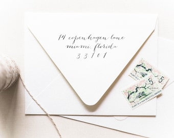 Calligraphy Stamp (Address Only) - Personalized Address Stamp, Housewarming Gifts, Cursive Stamp, Classic Wedding Stamp (Style 18)