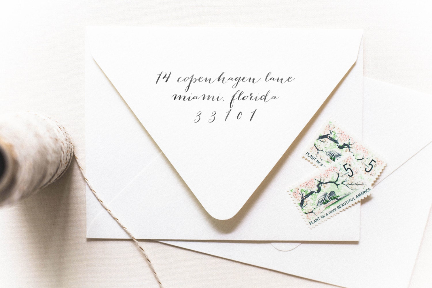 Calligraphy stamp address only personalized address for Classic housewarming gifts