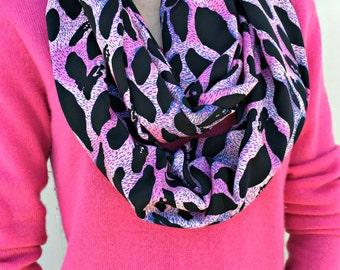 Pink Black White Animal Print Infinity Scarf, Multicolor Loop Scarf