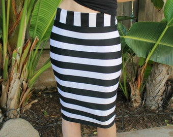 Black and White Striped Fitted Ponte Pencil Skirt