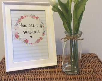 A5 'You Are My Sunshine' Framed Print