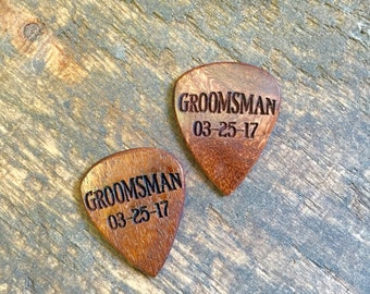 Engraved Gift for Groomsmen - One Custom Guitar Pick - Personalized Picks - Custom Engraved Guitar Pick - Personalized Engraved Wood Pick