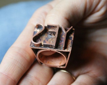 The original  imprint ring  Say YES Boho style Gift for her Unique ring Unique jewelry Imprint jewelry Copper jewelry Copper Ring