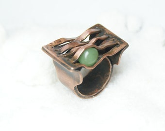 Unique ring. Copper ring with jade. Copper ring, bohemian ring, copper jewelry, modern copper ring, boho copper ring