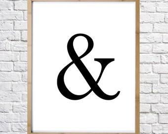 Ampersand poster, typography print, digital print, instant download, minimal art, printable art, wall decor