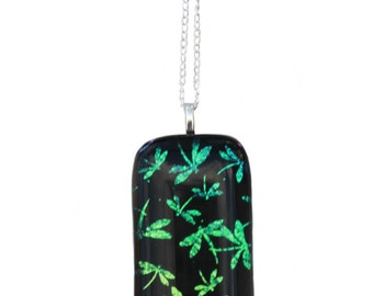 Dragonfly Dichroic Fused Glass Necklace Pendant