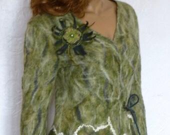 Green felted Jacket, Felt women's jacket, Warm wool jacket, Women's jacket khaki