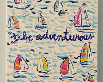 "Sailboat Pattern ""Be Adventurous"" Canvas"