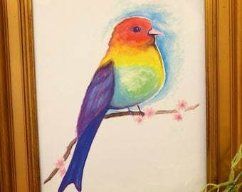 Colorful Rainbow Bird Wall Art