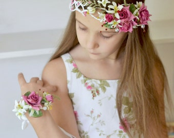 Flower Girl Set Bridal floral crown flower bracelet Pink white wedding flower headband Roses lilies hair wreath Boho Girl halo