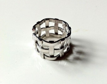 Open ring, ring with a interwoven design, silver ring, sterling silver ring, handmade ring