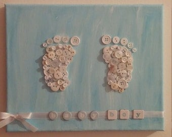 Baby Feet Button Art on stretched canvas 8x10 Baby Decor Baby shower gift
