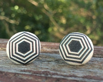 16mmCanvas/fabric nickel-free earrings - black and off-white geometric earrings