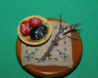 Vintage Dolls House Japanese Chabudai Table With Accessories