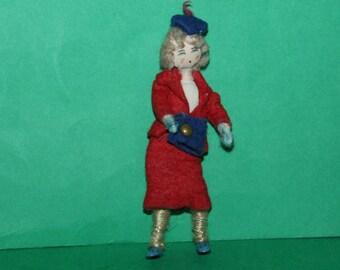 Vintage Dolls House Grecon Lady With Handbag KM0036