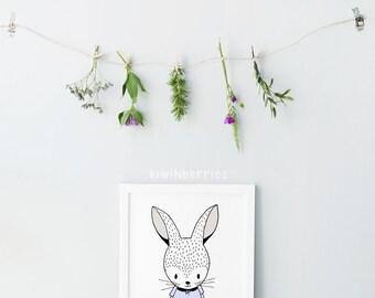Bunny illustration print - Nursery art - Hand drawn nursery art - Cute rabbit print - Nursery decor - Girls room decor - Baby shower gift