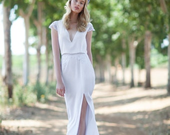 Deep V neck wedding dress, Lace wedding dress, Romantic wedding dress, Lora Wedding Dress