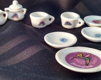 Vintage Mini Tea Set, Miniature Tea Set, Tea Set, Miniatures, Disney Tea Set, Floral Tea Set, Tinkerbell, Doll Tea Set, childrens tea set