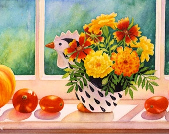 August Bounty - Matted Giclée Print of Original Watercolor by Margy Stancill Rodgers