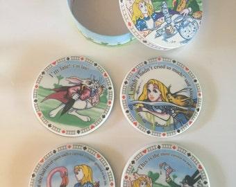 Alice in Wonderland 4 porcelain coaster set