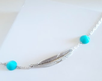 Anklet, Feather and Turquoise Anklet, Summer Anklet, Studded Anklet, Handmade Jewelry, Feather, Turquoise, Stud, Summer Jewelry, Boho