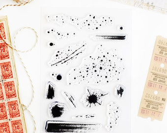 Set of Clear Stamps - Grunge Splatter and Brush Strokes for Paper Crafts, Scrapbooking 4x6 in