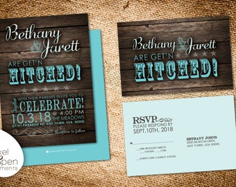 Gettin Hitched Wedding Invite & RSVP - Digital File Only!!