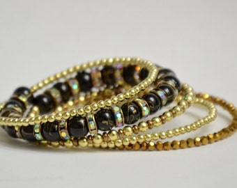 Gold & Black Beaded Memory Wire Bracelet