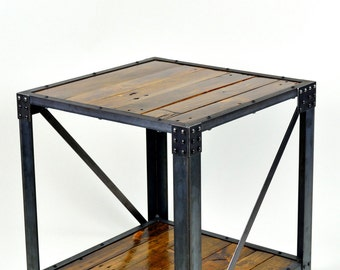 Large Industrial End Table Reclaimed Wood