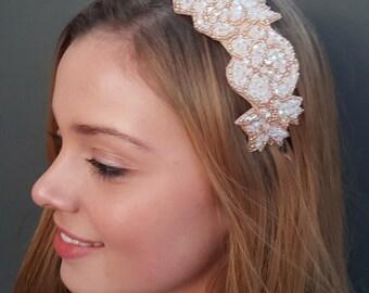 Beaded Headband, Rose Headband, Party Headband, Wedding Headband, Valentine's day Gift, Womans Headband,