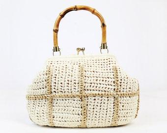 Vintage 60s/70s Cream Woven Handbag with Wooden Handle