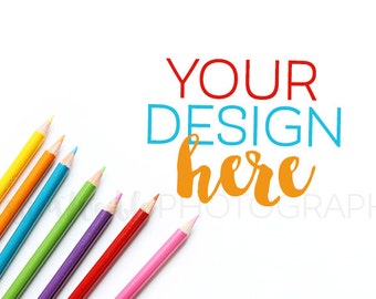 Colored Pencils Styled Desktop, Styled Stock Photography, Styled Mockup, Product Background Photo, Colored Pencils Styled Photo