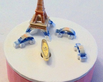 """Paris  Music Box 3D Printed , """"You Are My Sunshine"""",  Musical Box, Music Boxes, Personalized Music Box, WIND UP, Eiffel Tower, Blue Pink &"""