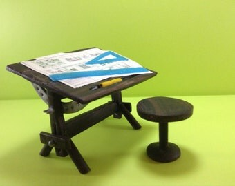 Realistic miniature: Drafting table, Drawing Table, desk, dollhouse furniture, architect, engineer, draftsman, designer. 1/12 scale