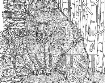 Wyoming Wildlife BEAR Animal Western ART Nature Printable Adult Coloring Book Page Instant Download Zentangle PDF