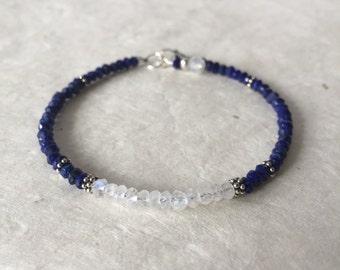 Lapis Lazuli Moonstone Karen Hill Tribe Thai Silver Beaded Bracelet, Sundance Style, Boho Bracelet, Stacking Bracelet