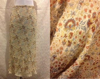 90s Does 70s Silk Psychedelic Paisley Thin Maxi Skirt Size S/M
