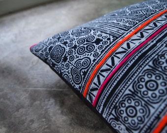 "Vintage 16"" by 16"" Batik Hmong Hill Tribe Ethnic Indigo Thai Throw Pillow"