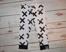 Baby Leggings, Toddler Leggings - Black X's