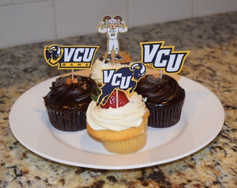 Cupcake toppers, party supplies, VCU Rams, Virginia Commonwealth University, sports
