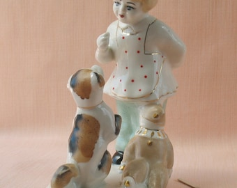 "Russian Porcelain ""Girl with a dog"" Sculpture Figurines USSR vintage Polonnoe decor"