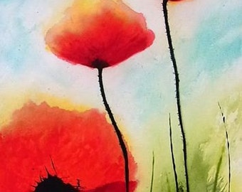 acryliv painting original acrylic painting poppy poppies abstract Meadow Flowers