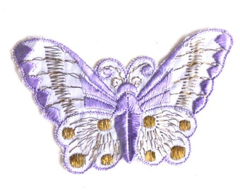 Applique purple butterfly 1930s vintage embroidered applique. Vintage patch, sewing supply. #5E6GC4KB