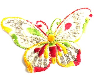 Butterfly applique, 1930s vintage embroidered applique. Vintage patch, sewing supply. Applique, Crazy quilt #5E6G9FKA