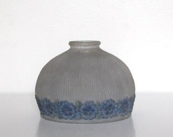 Vintage frosted glass globe lamp shade reverse hand painted blue flowers Boho shabby chic lighting shade forget me not