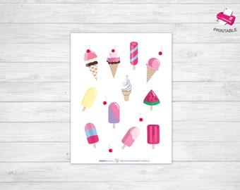 Icecream clip art , Summer clip art, July clip art, August clip art, Printable Planner Stickers, Planner Stickers, stickers planner clipart