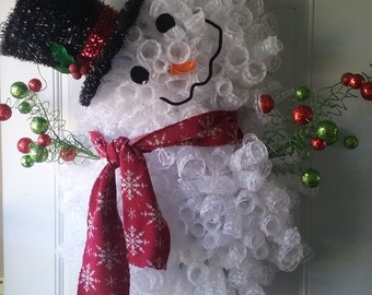 Snowman Wreath  (Large) - big beautiful snowman to display on your door or as a wall or window hanging.