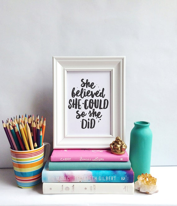 Printable Art, She Believed She Could So She Did, Inspirational Quote, Motivational Print, Typography Quote, Art Prints, Quote Printables