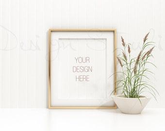 empty gold frame landscape horizontal frame styled stock photographyproduct background mockup 18x24 frame mockup