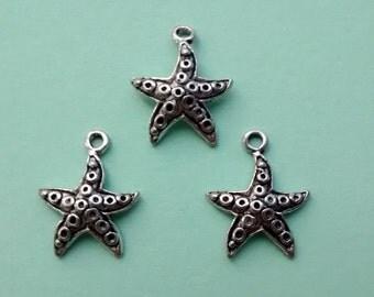 10 Starfish Charms Silver - CS2021